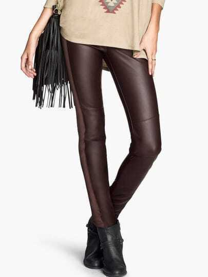 Brown Slim Elastic PU Leather Leggings