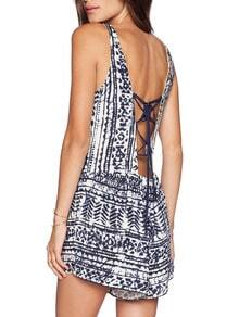 White Navy Sleeveless Vintage Print Playsuit