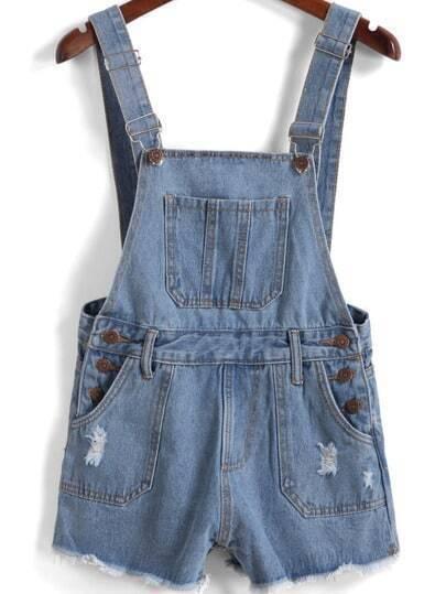 Синий рваный джинсовый комбинезон