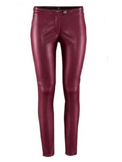 Wine Red Low Waist Skinny Elasic PU Leather Leggings