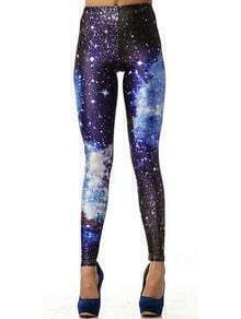 Purple Galaxy Print Elastic Leggings