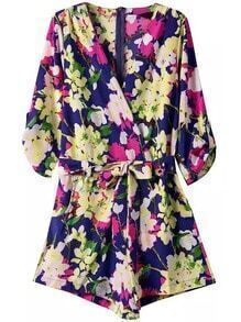 V Neck Florals With Belt Romper