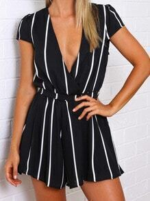 Deep V Neck Vertical Stripe Black Jumpsuit