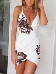 White Deep V Neck Floral Dress
