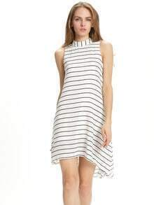 White Sleeveless Striped Strappy High Low Dress