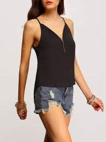 Black Spaghetti Strap Zipper Cami Top