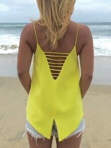 Yellow Spaghetti Strap Backless Cami Top