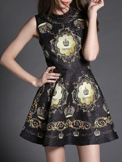 Black Sleeveless Digital Print Beading Dress
