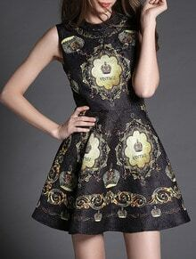 Black Sleeveless Digital Print Beading Dress