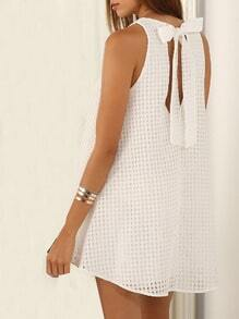 White Sleeveless Grid Bow Dress