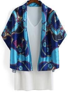 Blue Wheels Print Cape With White V Neck Dress