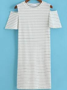 White Off the Shoulder Striped Tee Dress