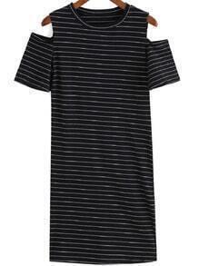 Black Off the Shoulder Striped Tee Dress