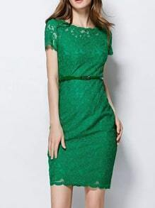 Green Round Neck Short Sleeve Embroidered Lace Dress