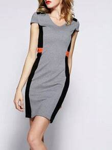 Grey Black Short Sleeve Slim Dress