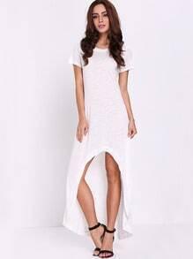 White Short Sleeve High Low Dress