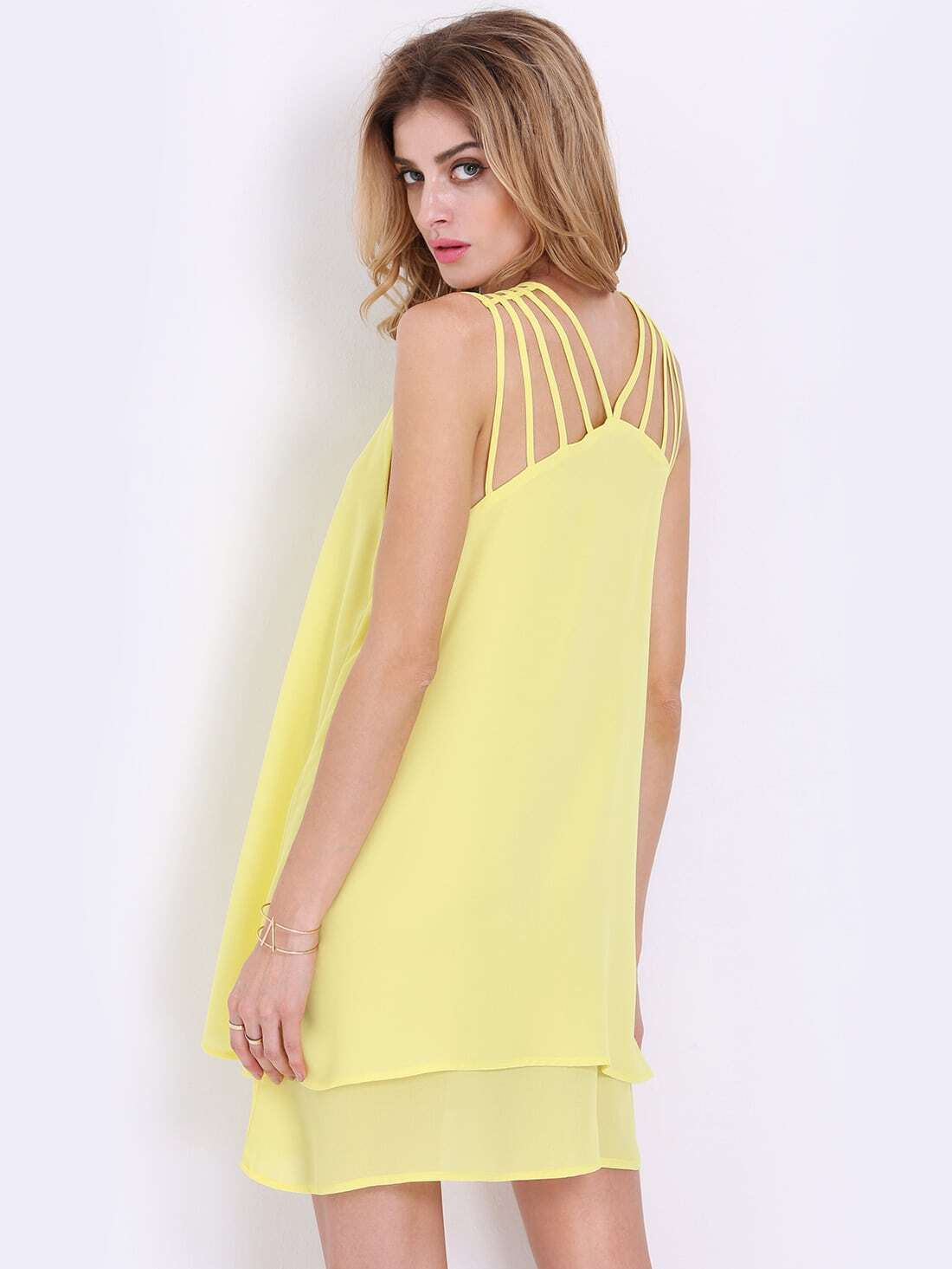 Yellow Spaghetti Strap Ruffle Dress