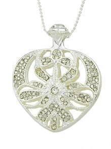 Latest Design Pretty Silver Women Rhinestone Heart Pendant Necklace