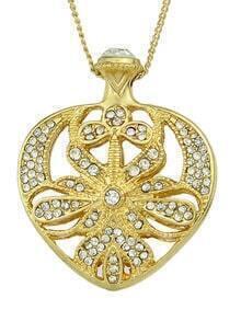 Latest Design Pretty Gold Women Rhinestone Heart Pendant Necklace