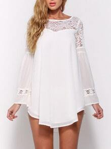White Bell Sleeve Lace Insert Hollow Chiffon Top