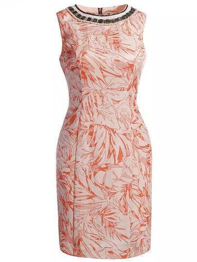 Orange Round Neck Sleeveless Floral Print Beading Slim Dress