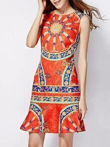 Red Round Neck Sleeveless Vintage Print Fishtail Dress