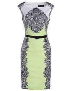 Green Boat Neck Cap Sleeve Vintage Print Drawstring Dress