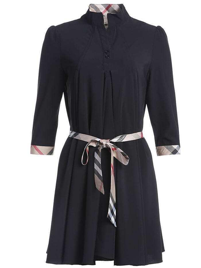 Black Stand Collar Half Sleeve Drawstring Dress