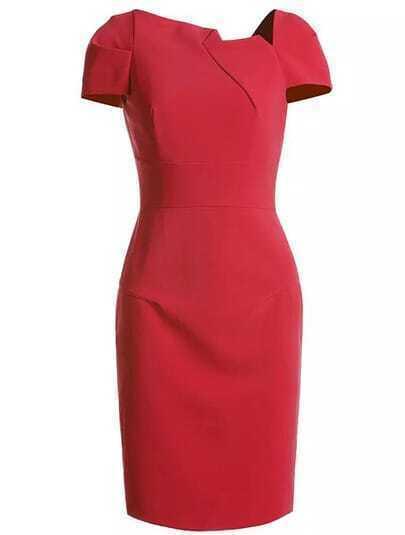 Red Short Sleeve Slim Dress