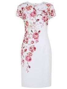 White Round Neck Short Sleeve Floral Print Dress