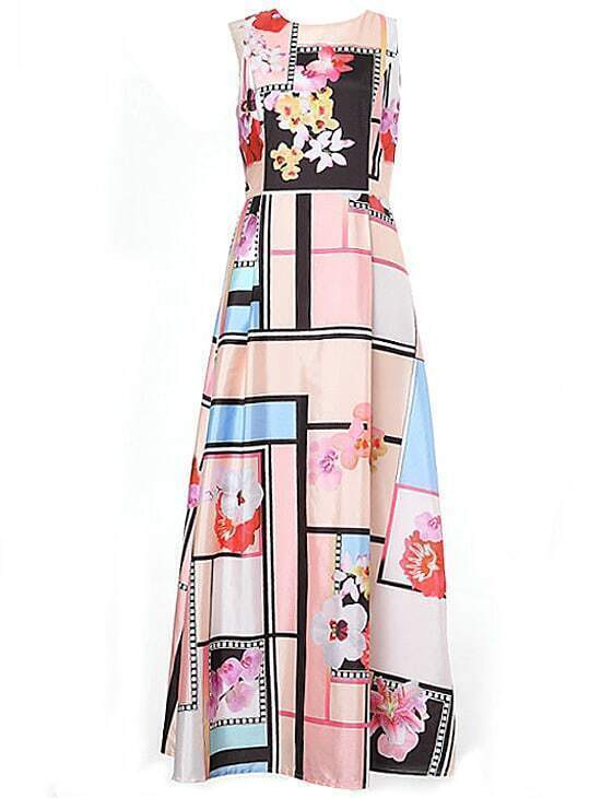 Multicolor Round Neck Sleeveless Print Maxi Dress