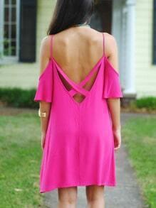 Rose Red Short Sleeve Off The Shoulder Backless Dress