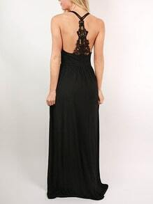 Black Spaghetti Strap With Lace Maxi Dress