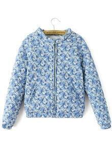 Blue Long Sleeve Floral Zipper Crop Coat