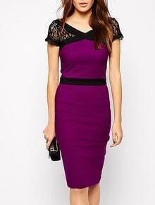 Purple Eggplant V Neck Short Lace Sleeve Bodycon Dress