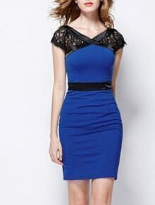 Blue V Neck Short Lace Sleeve Bodycon Dress