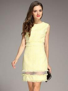 Yellow Sleeveless Plaid Tassel Tweed Dress