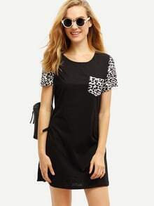 Black Raglan Short Sleeve Leopard Print T-Shirt Dress