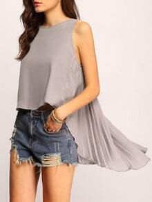 Grey Sleeveless Pleated High Low Tank Top
