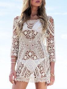 Apricot Long Sleeve Crochet Lace Blouse