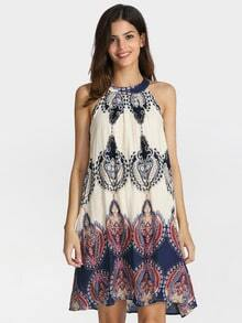 White Sleeveless Halter Beauty Tribal Print Dress