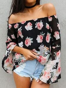 Black Off The Shoulder Florals Chiffon Top