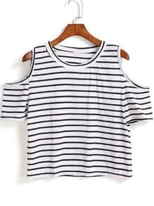 Off Shoulder Striped T-shirt