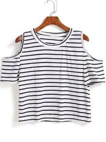 Off Shoulder Striped T-shirt