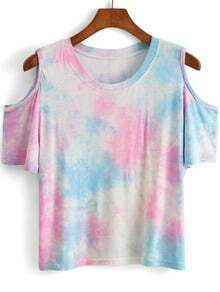Open Shoulder Tie-dye T-shirt
