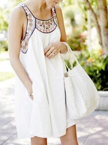 White Sleeveless Tribal Embroidered Dress