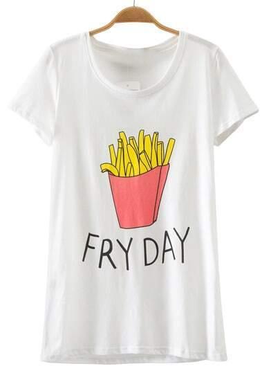 Camiseta texto manga corta-blanco
