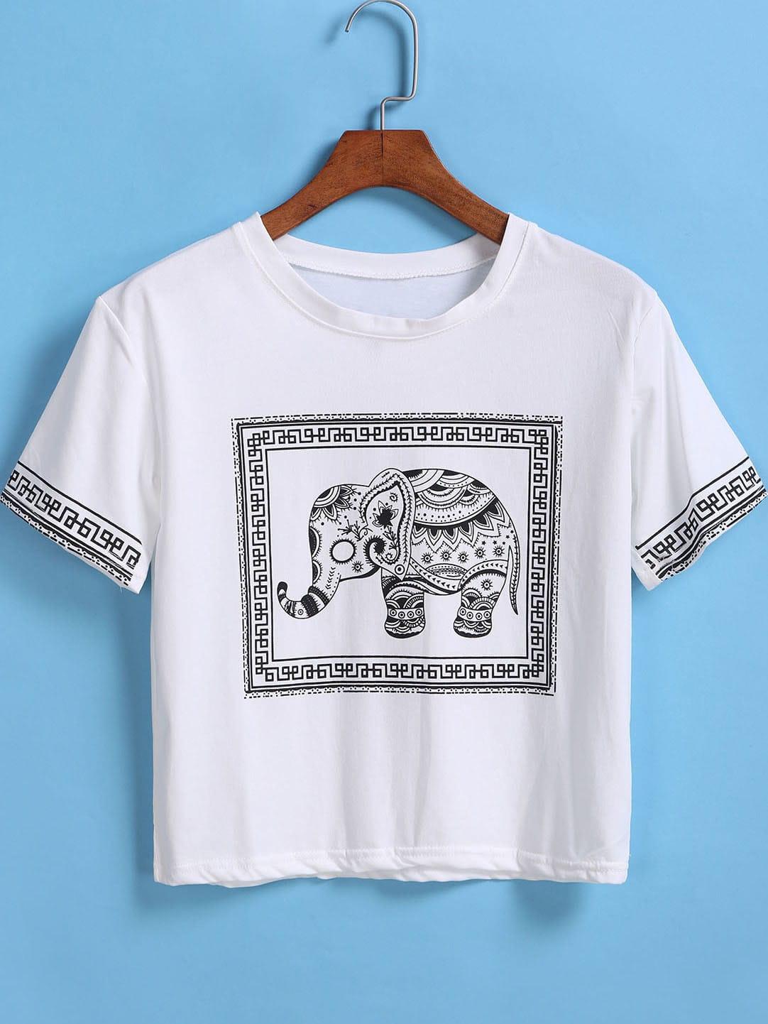white short sleeve elephant print crop t shirt shein. Black Bedroom Furniture Sets. Home Design Ideas