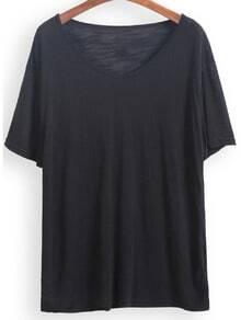 Black V Neck Short Sleeve Loose T-Shirt