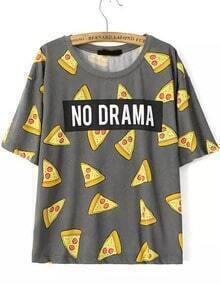 Grey Short Sleeve Cake NO DRAMA Print T-Shirt